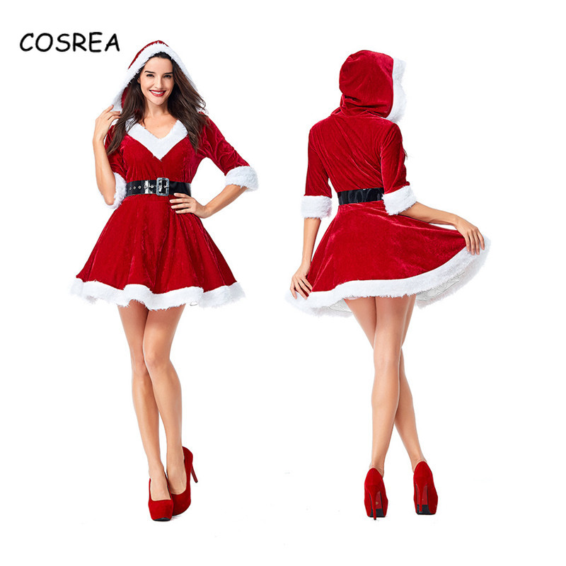 30c3900fa5f2 Detail Feedback Questions about Christmas Santa Claus Velvet Fabric Red  Dresses Belt Socks Ladies Clothes Party Evening Winter Cosplay Costumes New  Year ...