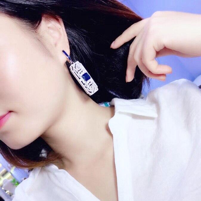 Qi xuan_joaille_nouvelles boucles d'oreilles Grilles boucles d'oreilles S925 argent incrusté Zircon élégant et irrégulier irrégulier _ ventes directes d'usine