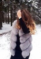 Короткий дизайнерский жилет из натурального меха лисы в русском стиле