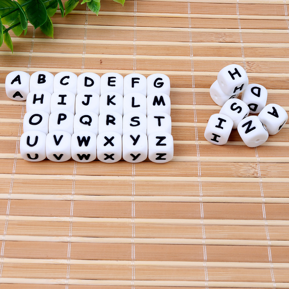 TYRY.HU 100Pcs/lot Alphabet Letter Beads Baby Teether Silicone Teething Beads For Necklace English Beads Pacifier Chain