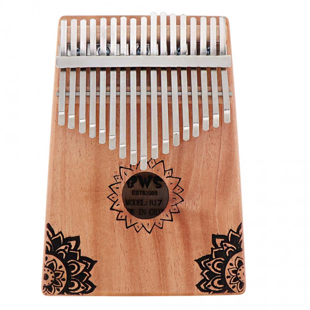 Piano com Folha de Bordo Chave Kalimba Alta Qualidade Mogno Polegar Buraco Som Mbira Natural Portátil Mini Teclado Instrumento 17