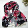 100% Lã Inverno do Xaile do Lenço Wraps Cachecóis Nova Chegada de Natal Dom de alto Grau de Borla Longo Cachecol de Lã Capa Rosa Cinza 182*65 + 2 cm