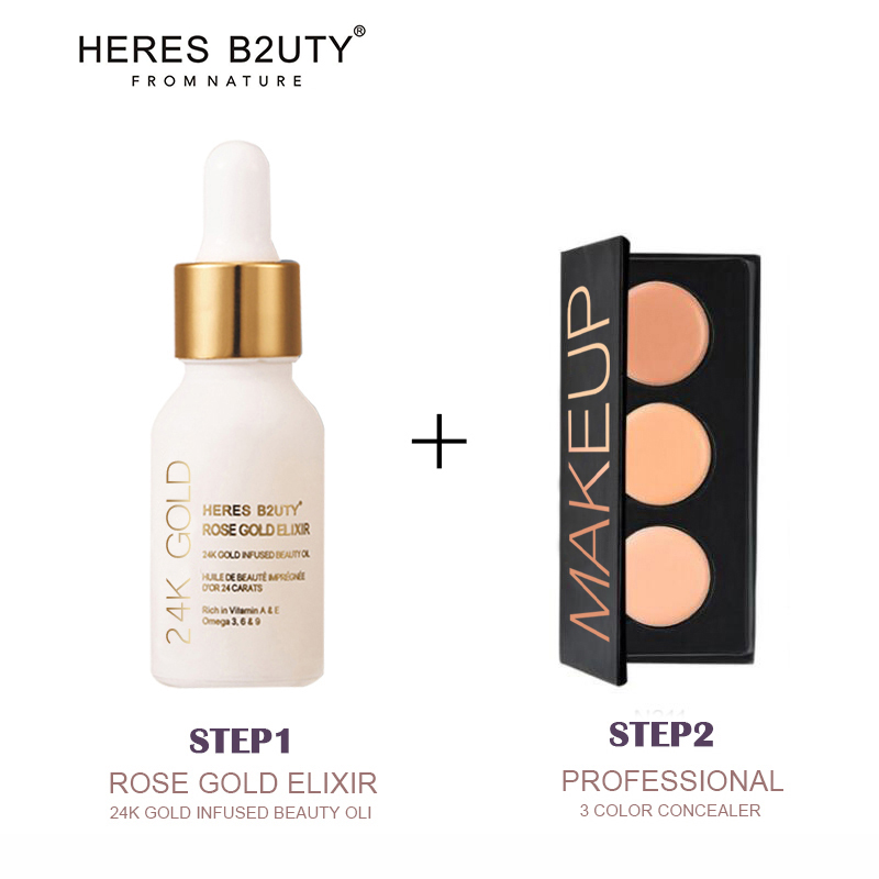 Brand HERES B2UTY 24K GOLD INFUSED BEAUTY Oil Plus 3 color Professional Face Concealer Cream <font><b>Contour</b></font> Palette Makeup Primer set