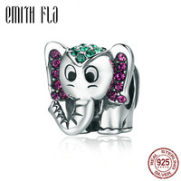 2018 New Authentic 925 Sterling Silver Colorful Elephant 3D Charm Beads DIY Fit For European Brand