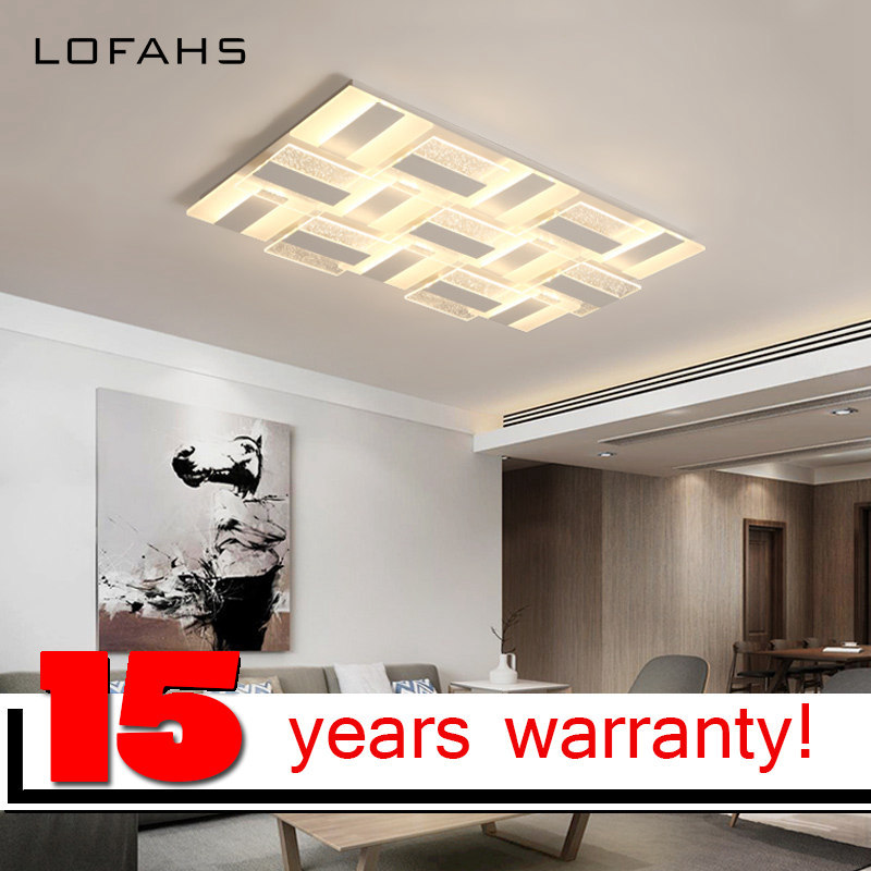 LOFAHS Modern LED ceiling lights for living dining room bedroom with remote control luxury rectangle acrylic ceiling lamp fixtur ...