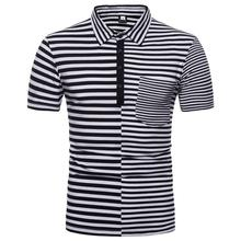 Striped Stitching Polo Shirt Mens Clothing Tops Tees Short-sleeved Men POLO shirt