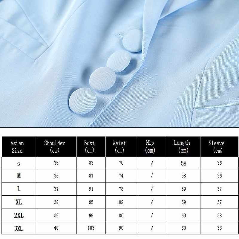 Duy nhất Ngực Phù Hợp Với Áo Khoác Phụ Nữ Mùa Hè Blazer Cộng Với Kích Thước Feminino Màu Xanh 2019 Mỏng Ngắn Tay Áo Phụ Nữ Văn Phòng Casaco OKD011