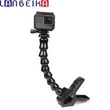 LANBEIKA szczęki Flex Clamp Mount z elastycznym regulowanym gęsiej szyi dla GoPro Hero 9 8 7 6 5 SJCAM SJ4000 SJ5000 SJ6 SJ8 YI statyw
