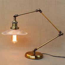RH retro industrial glass lampshade study dining room bedroom office high-grade decorative bronze lamp desk lamp table lights