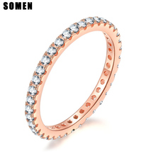 Somen 2mm 925 Sterling Silver Rings Women Romantic Wedding Band Cubic Zirconia Full Stackable Eternity Engagement Ring Size 4-10