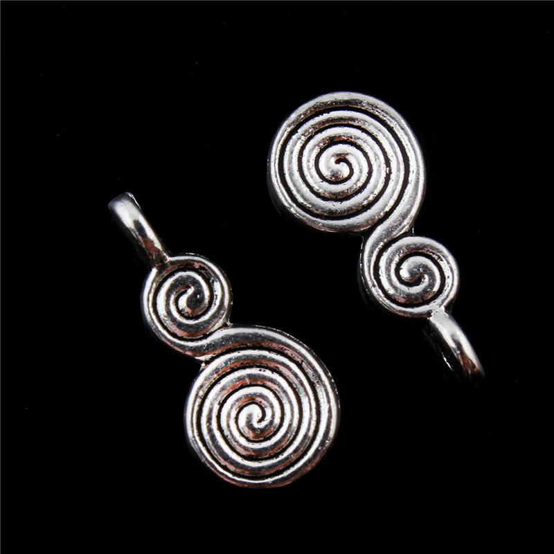 TJP 20pcs Antique Silver Tone Double Spiral Swirl Charms Pendants Beads Double Sided for Jewelry Making Findings 17x9mm in Charms from Jewelry Accessories