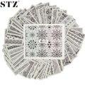 STZ 48 Hojas/lote de Transferencia de Agua Nails Art Sicker Decoración Herramienta de la Manicura Consejos Del Arte Del Clavo de Encaje Negro Flores Diseños conjunto A625-672
