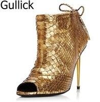 Лидер продаж Сияющий Золото змеиной кожи с открытым носком Сандалии для девочек Кружево с бантом на шнуровке тонкий металлический каблук с...