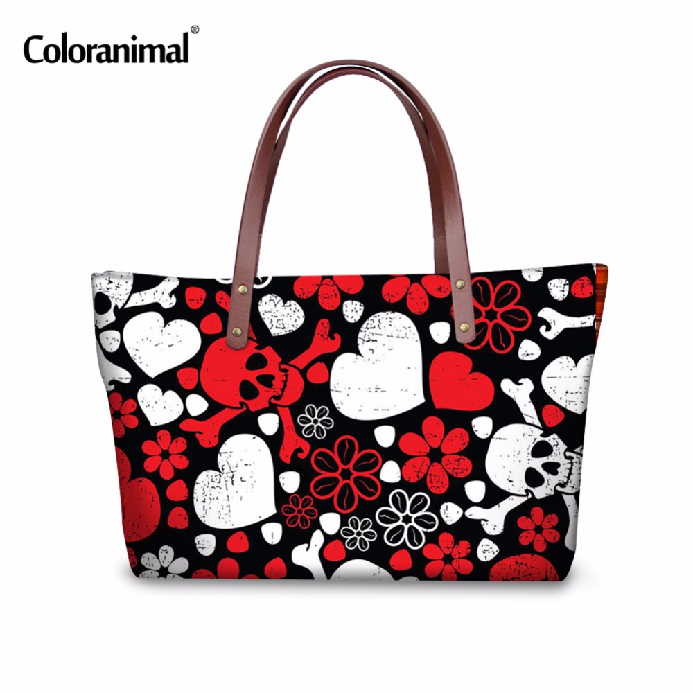 Coloranimal Fashion Women Shoulder Bags Ladies Punk Skull Printed Female Handbags Large Capacity Bolsa Feminina Ladies Tote Bag forudesigns casual women handbags peacock feather printed shopping bag large capacity ladies handbags vintage bolsa feminina page 7