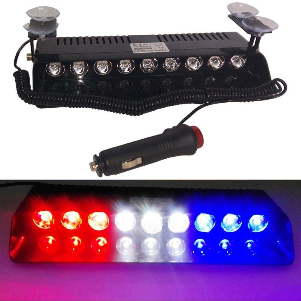 CYAN SOIL BAY Bright Blue White Red 9 LED Car Emergency Dashboard Strobe Lights Warning