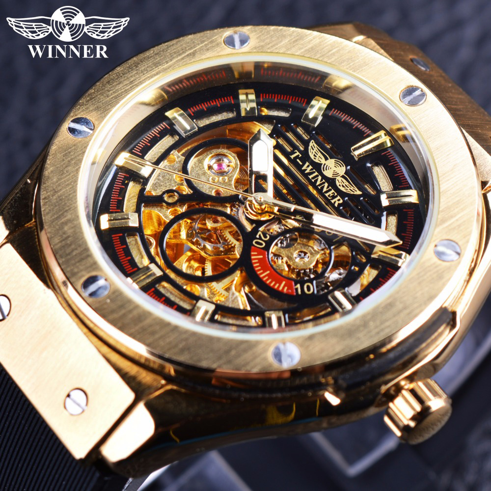 Winner 3 Dial Golden Metal Series Men Watches Top Brand Luxury Automatic Watch Luxury Brand Mechanical Skeleton Male Wrist Watch стоимость
