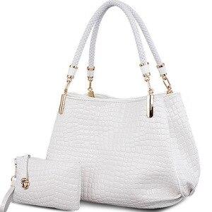 Image 1 - 2 bag/set  Fashion crocodile borse women totes lady handbag+purse/wallet carteras mujer big capacity black white shoulder kit