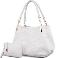 2 bag/set Fashion crocodile borse women totes lady handbag+purse/wallet carteras mujer big capacity black white shoulder kit