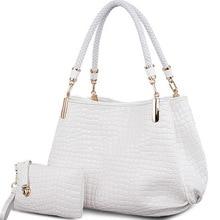 2 bag/set del coccodrillo di Modo borse delle donne totes borsa della signora + della borsa/raccoglitore carteras mujer grande capacità di spalla bianco kit