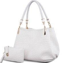 حقيبة يد نسائية 2 bag/set على شكل تمساح حقيبة يد نسائية + محفظة/محفظة كارترس موجر سعة كبيرة طقم كتف أسود أبيض