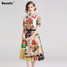 2019 Summer Runway Designer Suit Set Women Short Sleeve Flower Print Shirt Tops + Pleated Expansion Skirts Two Pieces B6210