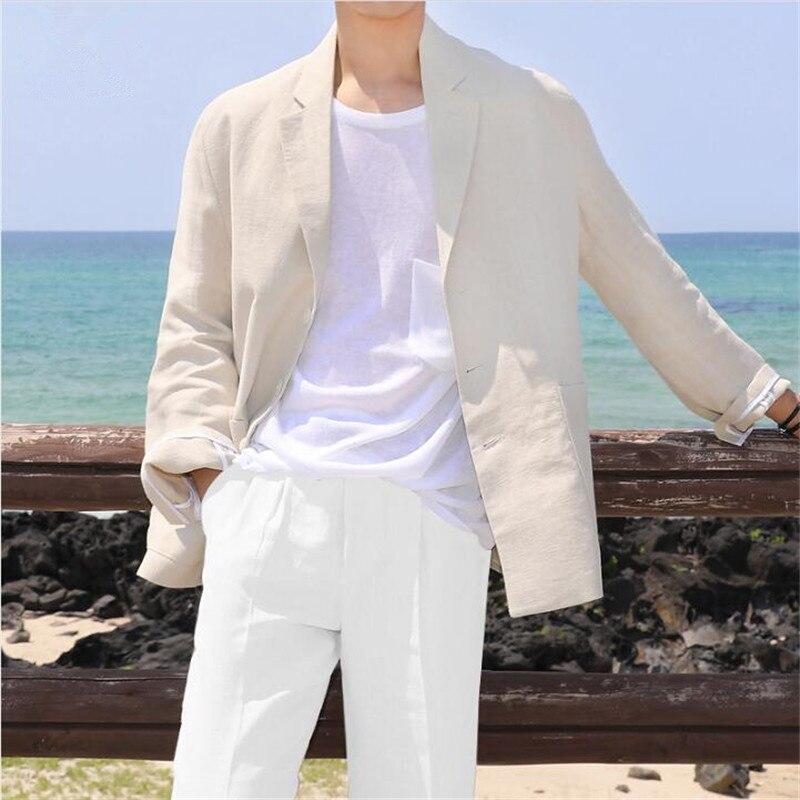 Plus Size Blazer Men Cotton Linen Blazer Mens Casual Brief Jacket Baggy Lightweight Blazer Men 2019 Masculino S-3XL DS5011