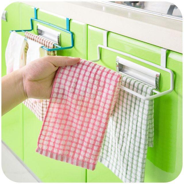 Double Pole Kitchen Cloth Holder Hanging Towel Rack Abinet Cupboard Door  Hanging Shelf Towel Rail Bathroom