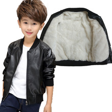 Children Spring Boys Coat Winter Thick Fleece Kids PU Leather Jackets Baby