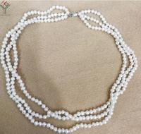 Hot sale new Style >>>Women Jewelry 3 Rows necklace 3x5mm white pearl real natural pearl cultured freshwater pearl gift