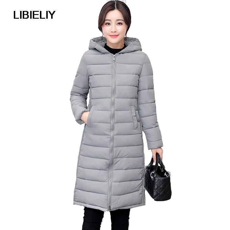 Nice Women Winter Hooded Long Jacket Female Warm Plus Size 2XL Cotton Padded Coat Ladies Outerwear Parka Solid Chaqueta Feminino