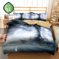 HELENGILI 3D Bedding Set Tornado Print Duvet cover set lifelike bedclothes with pillowcase bed set home Textiles #3 11