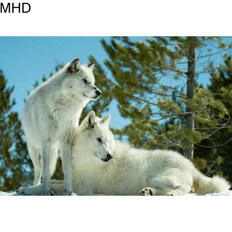 "5D DIY Diamond Painting ""Wolf"" Full Square & Round Diamond Cross Stitch Animal Wall Sticker Art Home Decor Kit"