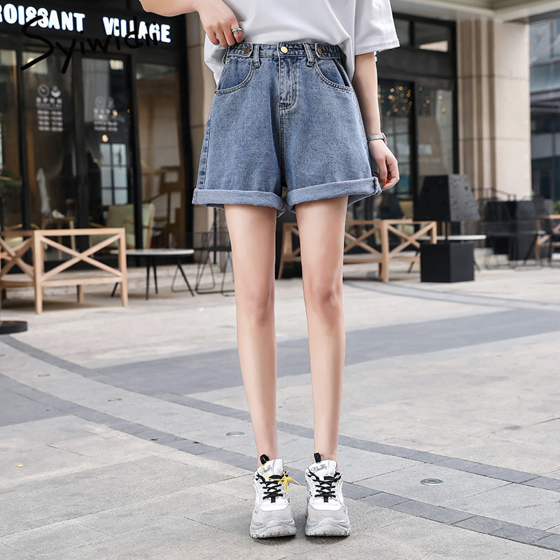 high waisted   jeans   women black mom boyfriend   jeans   for woman Button Wide Leg Pants street style 2019 summer hot sale blue