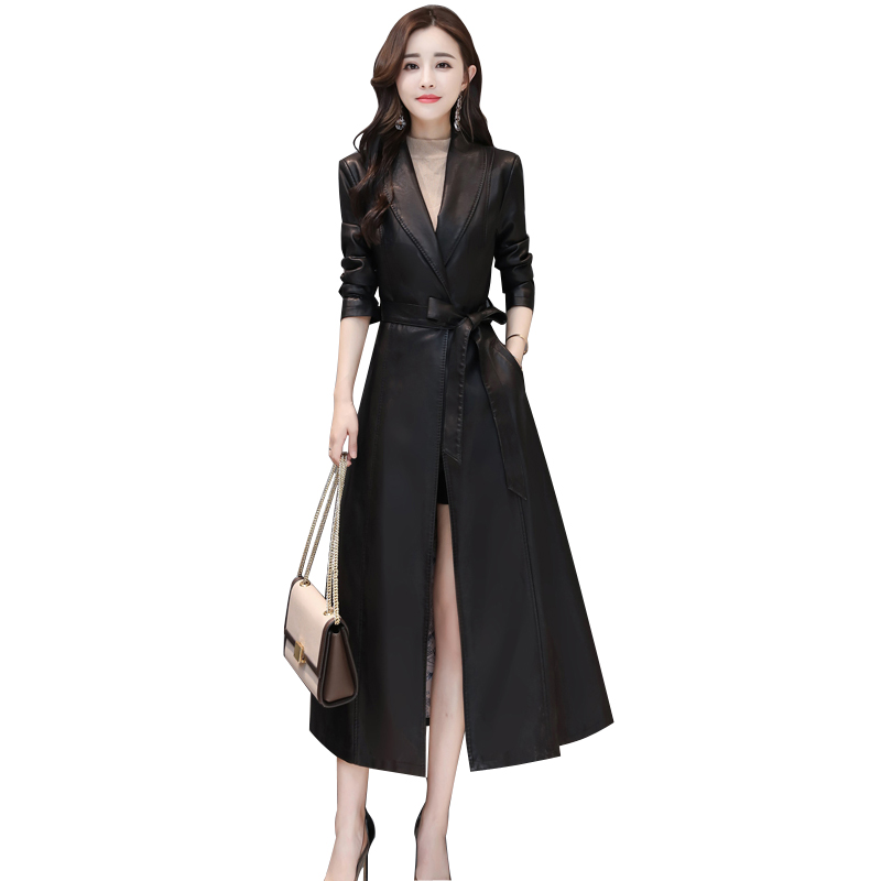 female   leather   autumn long faux jackets coat Belt turn down collar large swing women   leather   trench coat tops