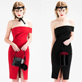 Don's Bridal New Arrival Red Black Sleeveless Mini Sex Cocktail Dress Knee Length Offer Shoulder Satin Custom Made Party Dress