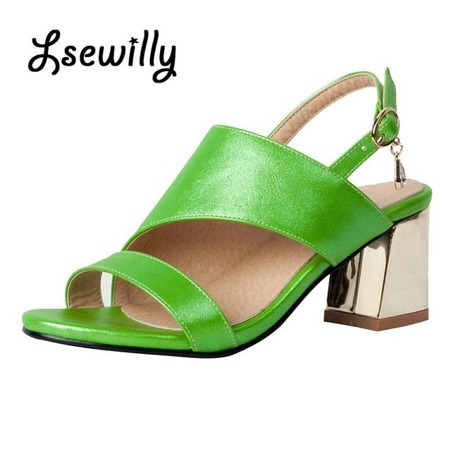 Lsewilly 2017 Women Sandals Plus Size 32-46 Fashion High Heel Summer Women  sandals Shoes Woman Office pink green shoes SS707 020d1a665165