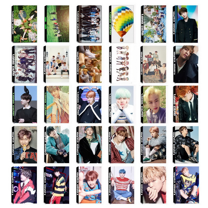 все цены на YANZIXG KPOP BTS Bangtan Boys Album Self Made Paper Lomo Card Photo Card Poster HD Photocard Fans Gift Collection