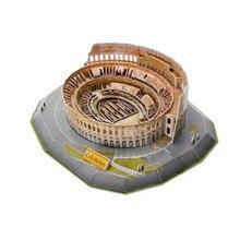 Brinquedos Puzzle Cubicfun 3D L194h O Roman Colosseu Com Luz LED DIY Enigma 3D Modelo Feito À Mão Presentes Brinquedo de Montagem Para crianças