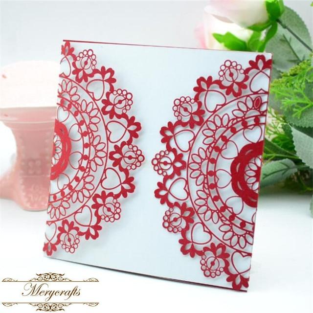 50pieces Latest Beautiful Wedding Card Design Laser Cut Red Wedding
