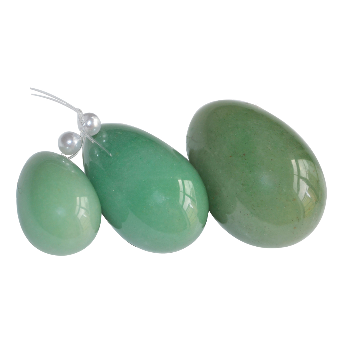 New 6Pcs(2sets) Body Massager Drilled Natural Jade Egg Green Aventurine Female Kegle Exercise Pelvic Vaginal Muscle Trainer himabm 1 pcs natural jade egg for kegel exercise pelvic floor muscles vaginal exercise yoni egg ben wa ball