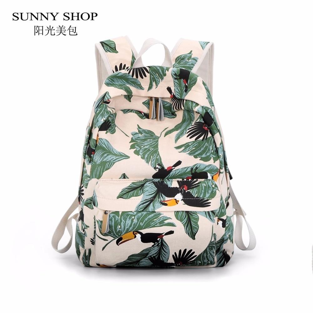 SUNNY SHOP Toucan Animal Printing Canvas Backpack For A4  14Laptop Green Forest Original Women Daypacks Teenage Girls School laptop keyboard for hp for envy 4 1014tu 4 1014tx 4 1015tu 4 1015tx 4 1018tu backlit northwest africa 692759 fp1 mp 11m6j698w
