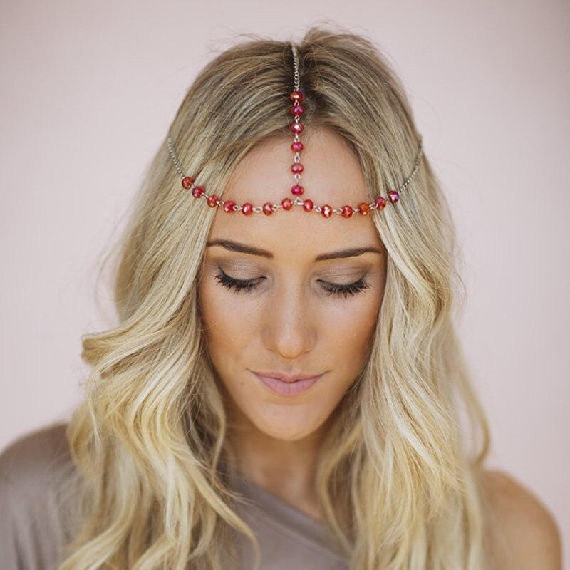 TS1007 Black Red Beads Hair Accessories Head Chain Boho Beach Jewelry Headband Tassel 2017 NEW Arrival