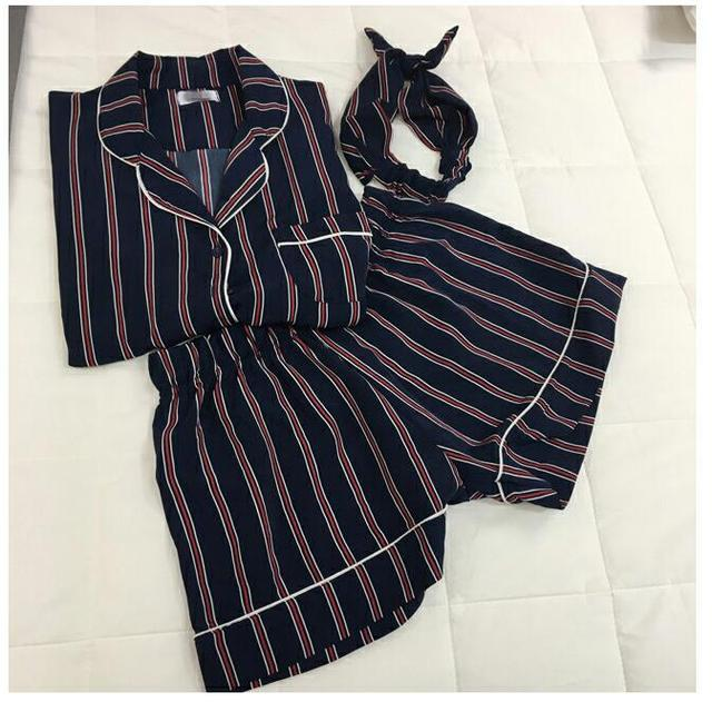 Plus Size Summer 2018 Fashion Women Pajamas Turn Down Collar Sleepwear 2 Two Piece Set Shirt+Shorts Striped Casual Pajama Sets by Bellyqueen