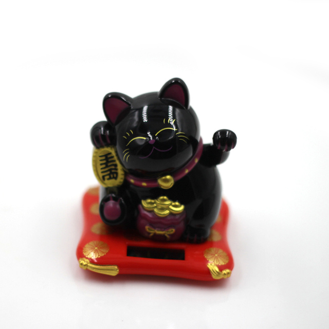 Fashion New Black/White Solar Powered Maneki Neko Welcoming Fortune Cat Lucky For Home Car Hotel Restaurant Decor Craft 2
