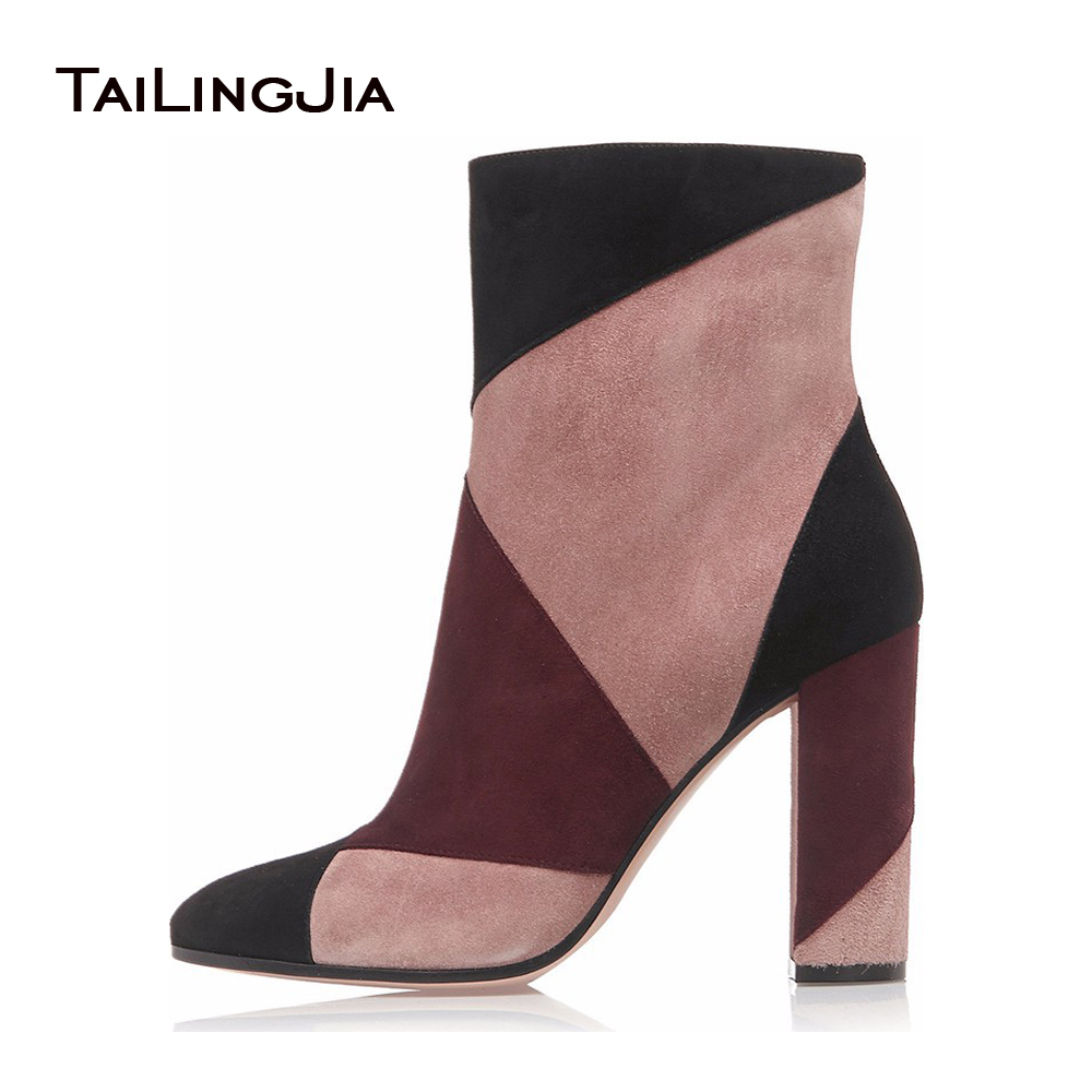 купить Women High Heel Ankle Boots 2017 Fashion Patchwork Round Toe Chunky Heel Booties For Ladies Zipper Winter Shoes Size EU 34-46 дешево