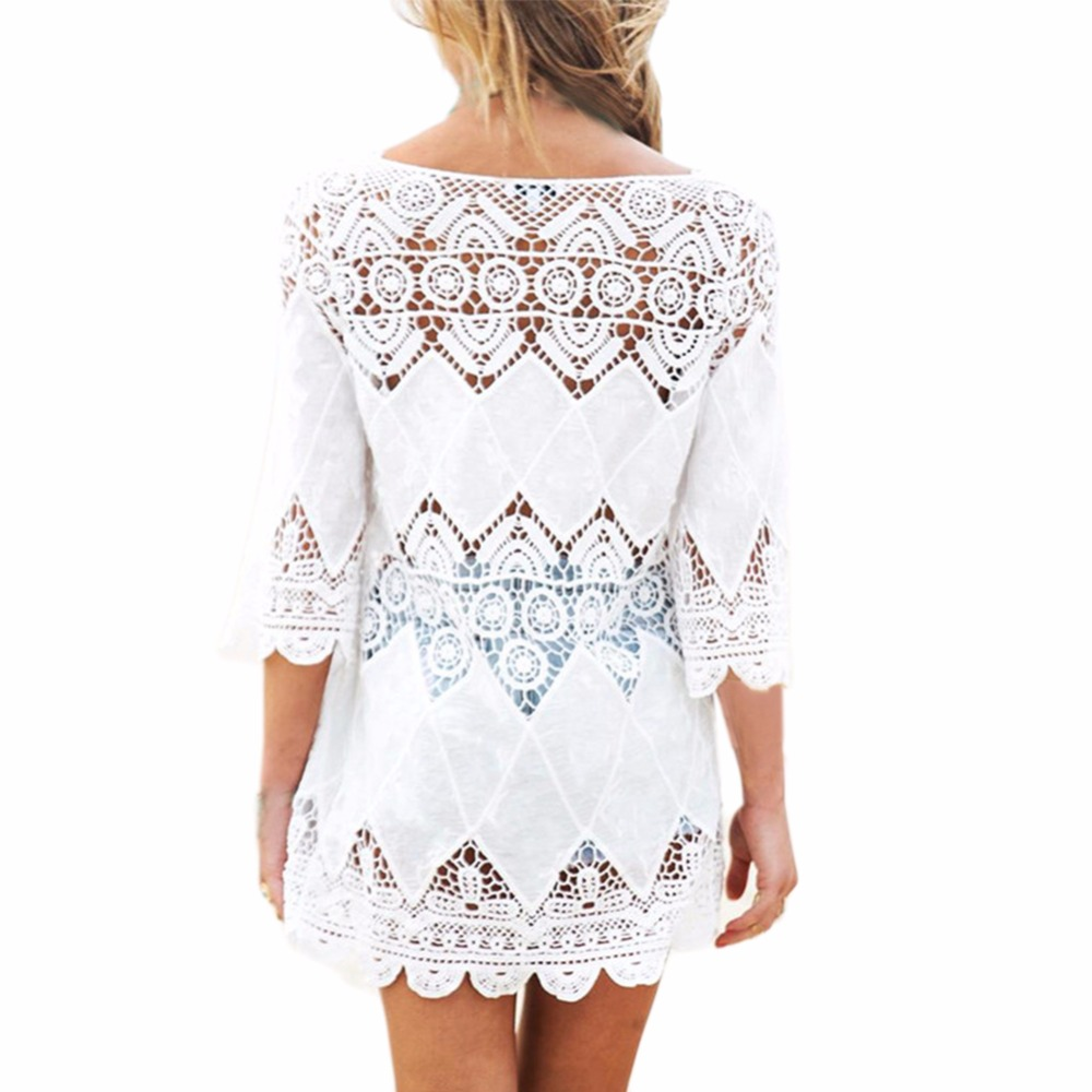 Women Half Sleeve O Neck Mini Dress Floral Crochet Hollow Out Dresses Female Vestidos Solid Summer Elegant Lace Beach Dress