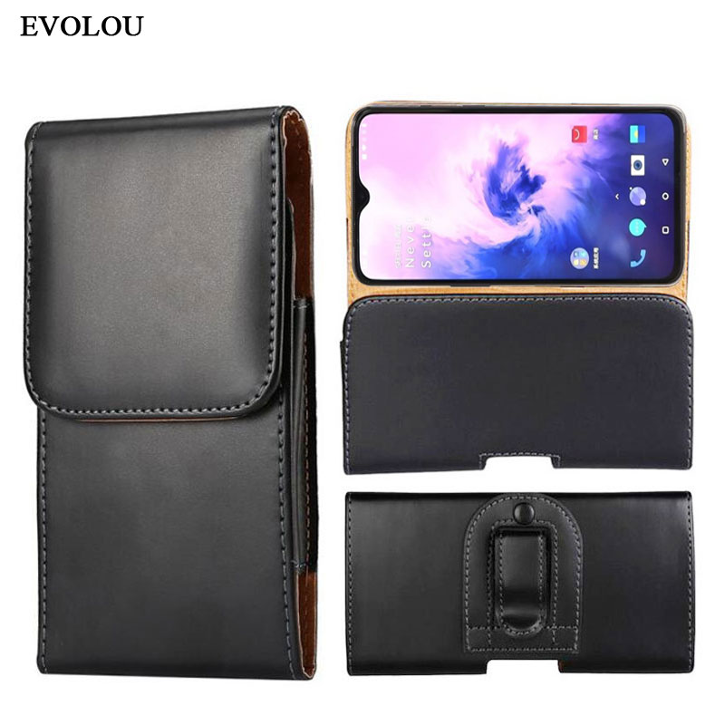 Belt Clip leather Pouch Case for oneplus 7 Pro 6T 5T 3T Waist Bag Leather Cover for Nokia 5.1 6.1 7.1 <font><b>2018</b></font> X5 X6 X7 X2 N930 3310 image