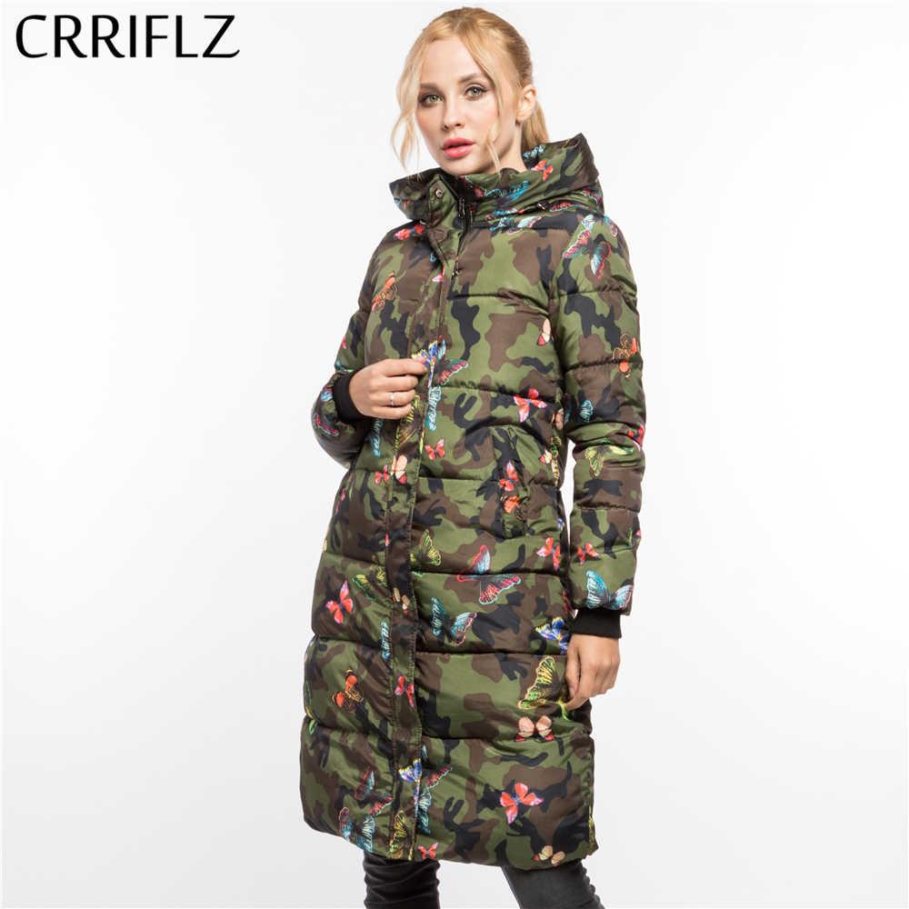 4c538b6bd49 ... Модные Армейский зеленый с принтом бабочки Теплая зимняя кофта Для женщин  пальто с капюшоном пуховики и ...