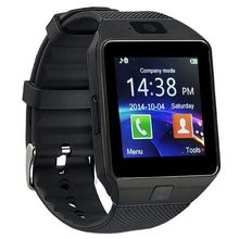 Bluetooth Watch Sensible Watch Telephone DZ09 TF SIM Card Holder HD Sync Caller SMS for Android Telephone-Black