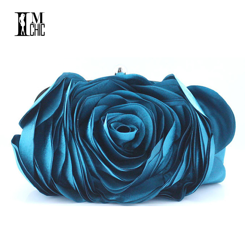 Designer Clutch Famous Brand Women Evening Clutch Bag Satin Bridal Clutches Flower Shape Women Bags Shoulder Chain 7Color european and american style designer clutch bag famous brand women clutch rose diamondevening bag chain women messenger bags